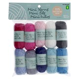 10PK Mini Coloured Cotton and Acrylic Yarn - 0
