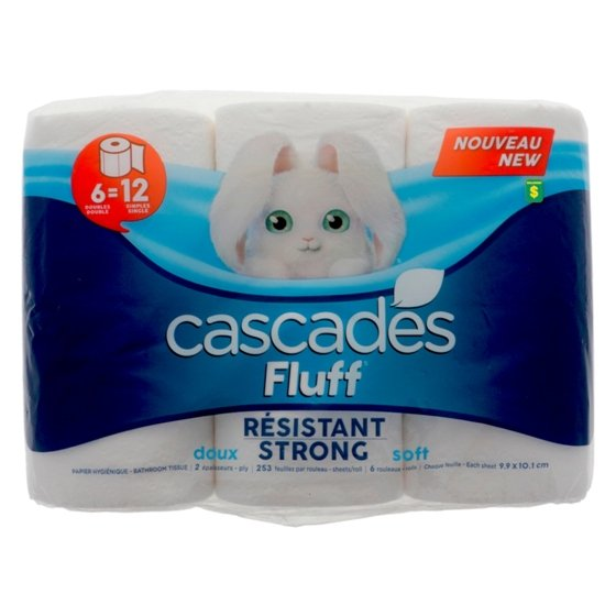 6 Fluff Bathroom Tissue Rolls