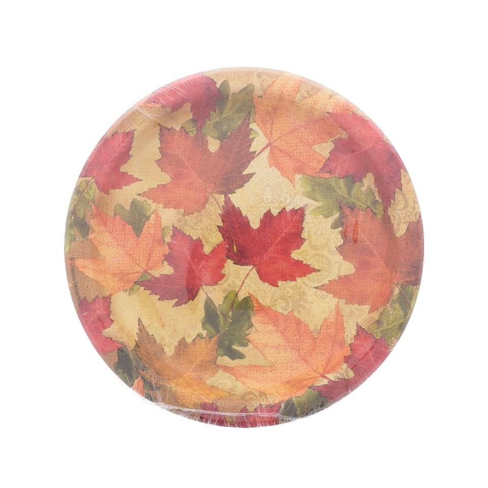Paquet de 10 petites assiettes à motifs d'automne