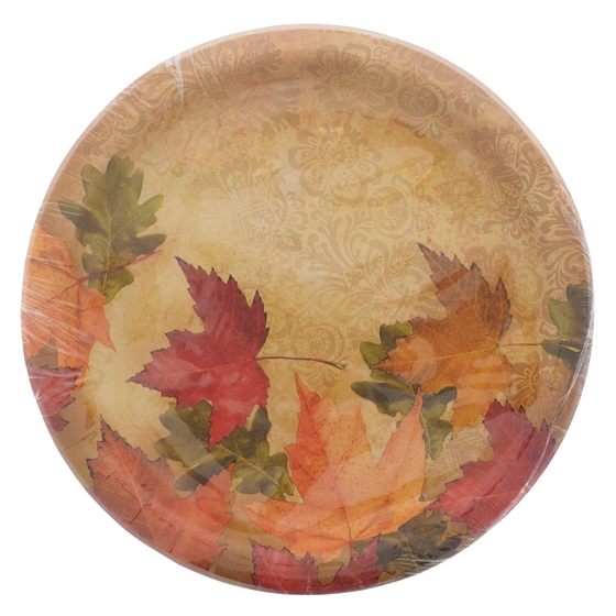 Paquet de 10 assiettes de repas à motifs d'automne