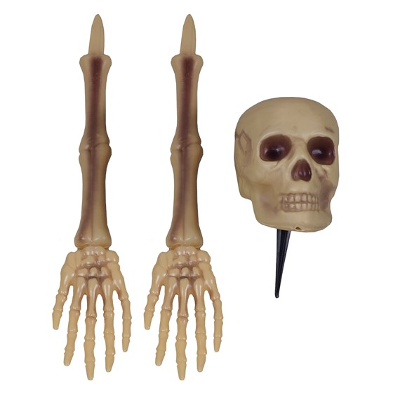 3PK Plastic Skulls and Skeleton Yard Stakes