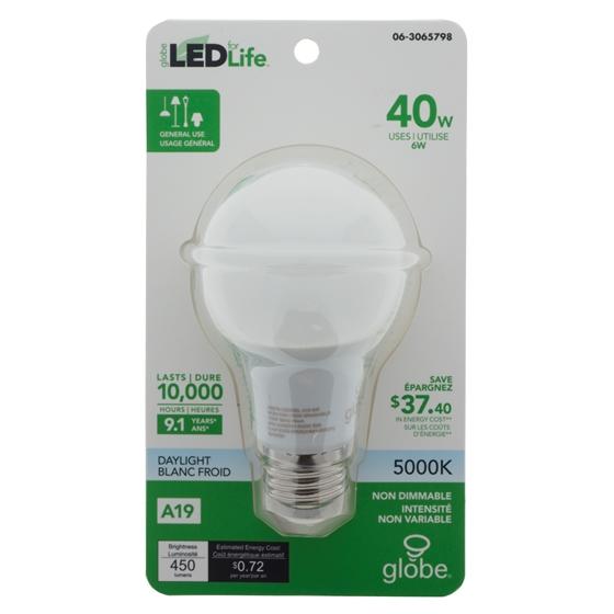Ampoules DEL A19 40w 5000k - Blanc