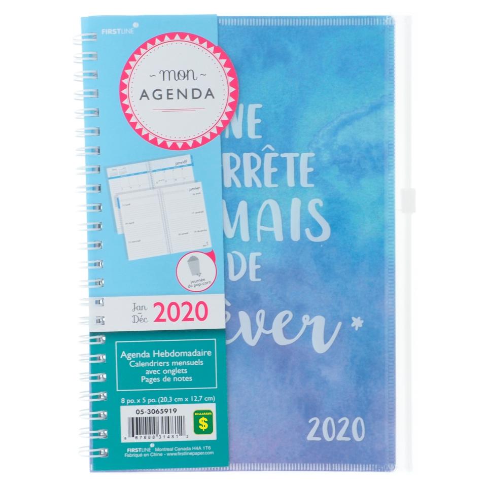 Agenda français hebdomadaire et mensuel avec onglets