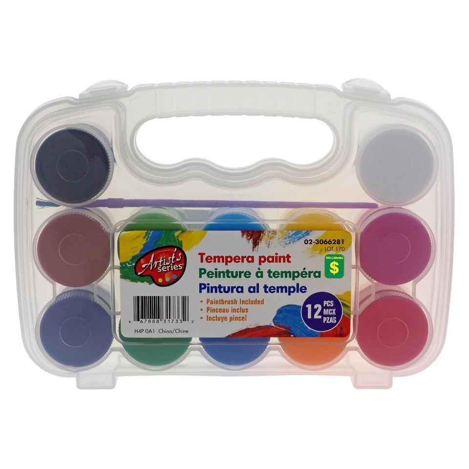 12PK Tempera Paint in Plastic Case
