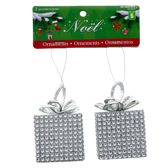 Set Of 2 Square Gift Ornaments W/Silver Rhinestone &Glitter Decoration