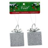 Set Of 2 Square Gift Ornaments W/Silver Rhinestone &Glitter Decoration - 0