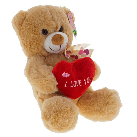 Plush Valentine Bear Holding Plush Heart