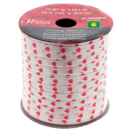 Heart Printed Curling Ribbon