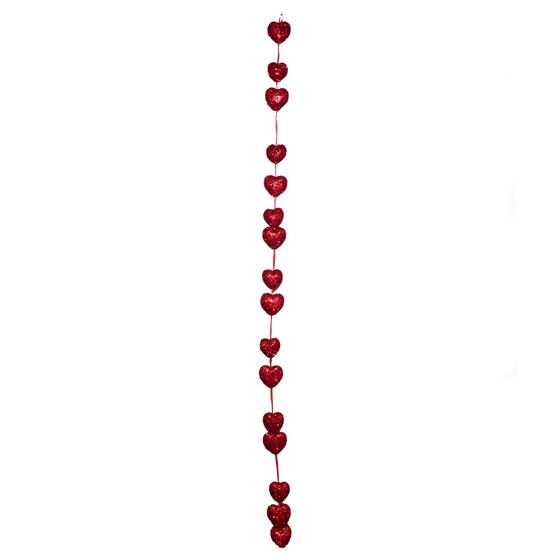 Valentines Satin Garland With 16 Tinsel Hearts