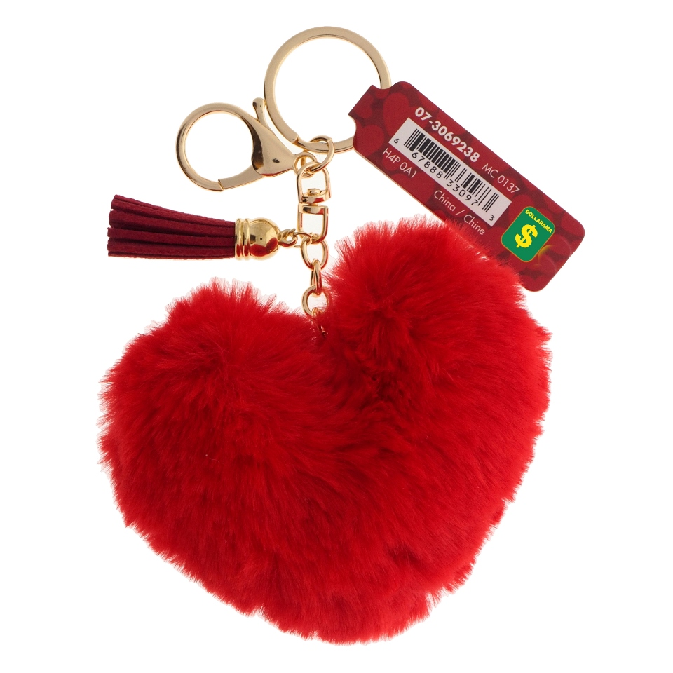Porte-clés en forme de cœur avec détail en faux cuir