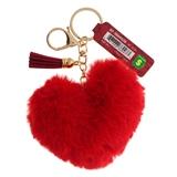 Porte-clés en forme de cœur avec détail en faux cuir - 0
