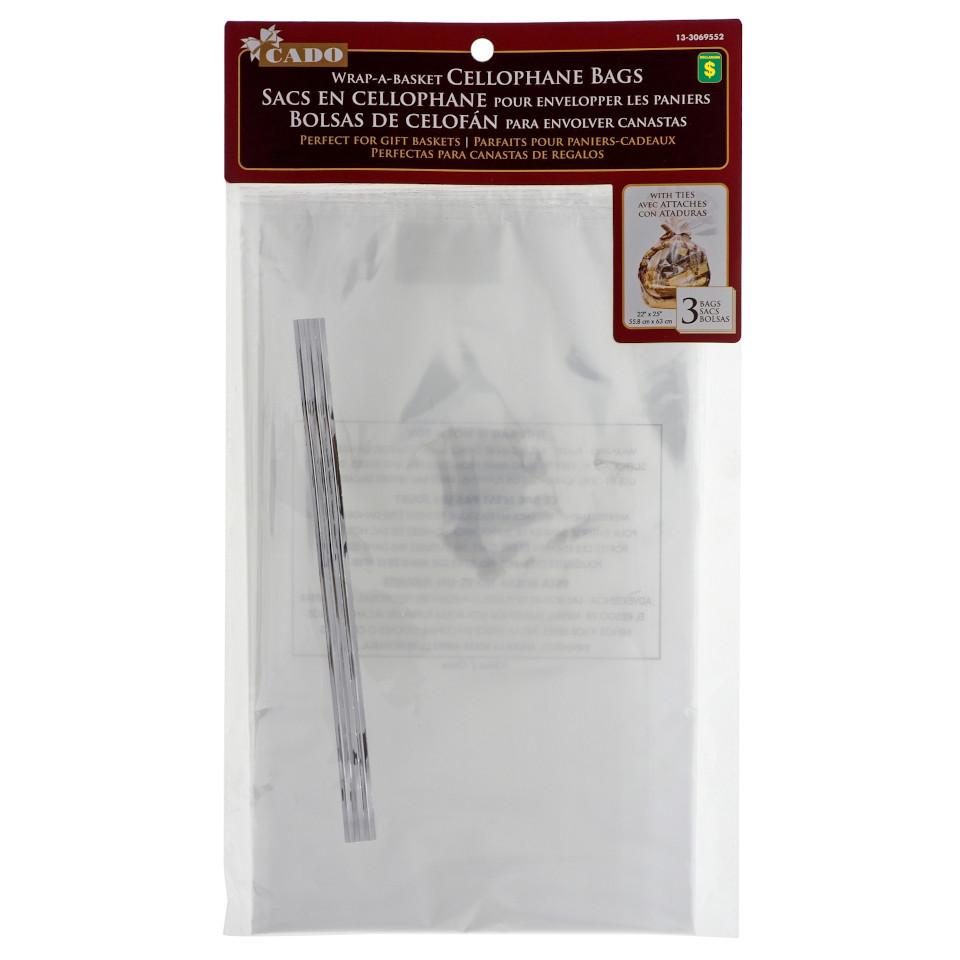 3PK Clear Cellophane Bags