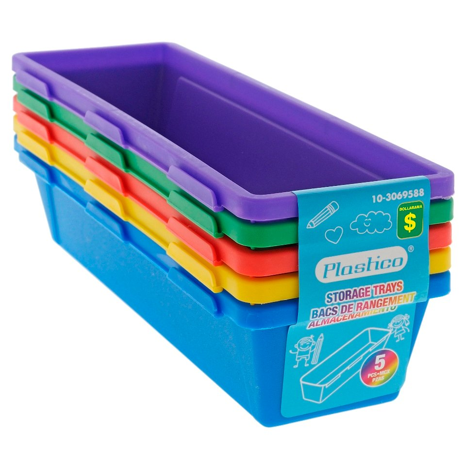 5PK Plastic Interlocking Pencil Trays