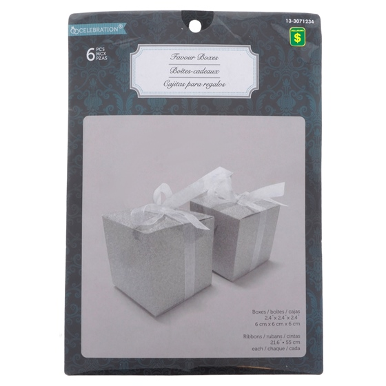 6PK Wedding Embedded Glitter Favour Box
