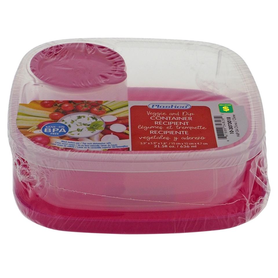 Plastic Veggie & Dip Container With Lid