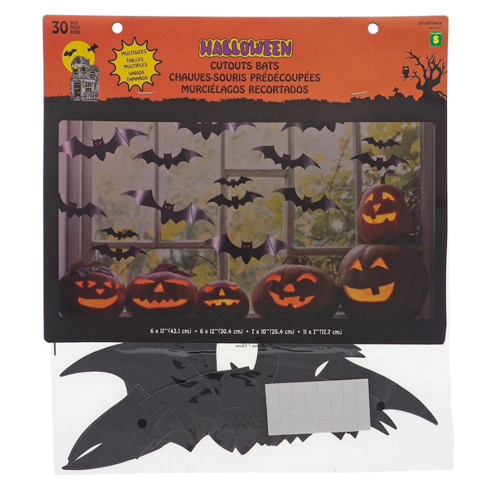 30PK Printed Bats & Spiders Cutouts
