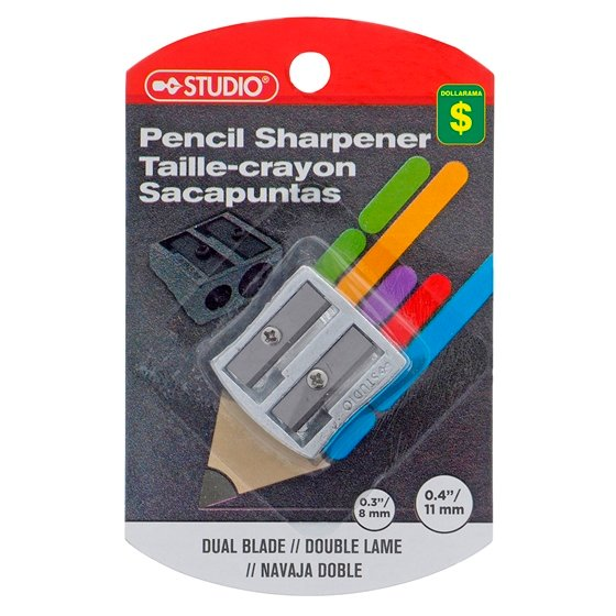 Metal 2 Hole Pencil Sharpener On Clip Strip