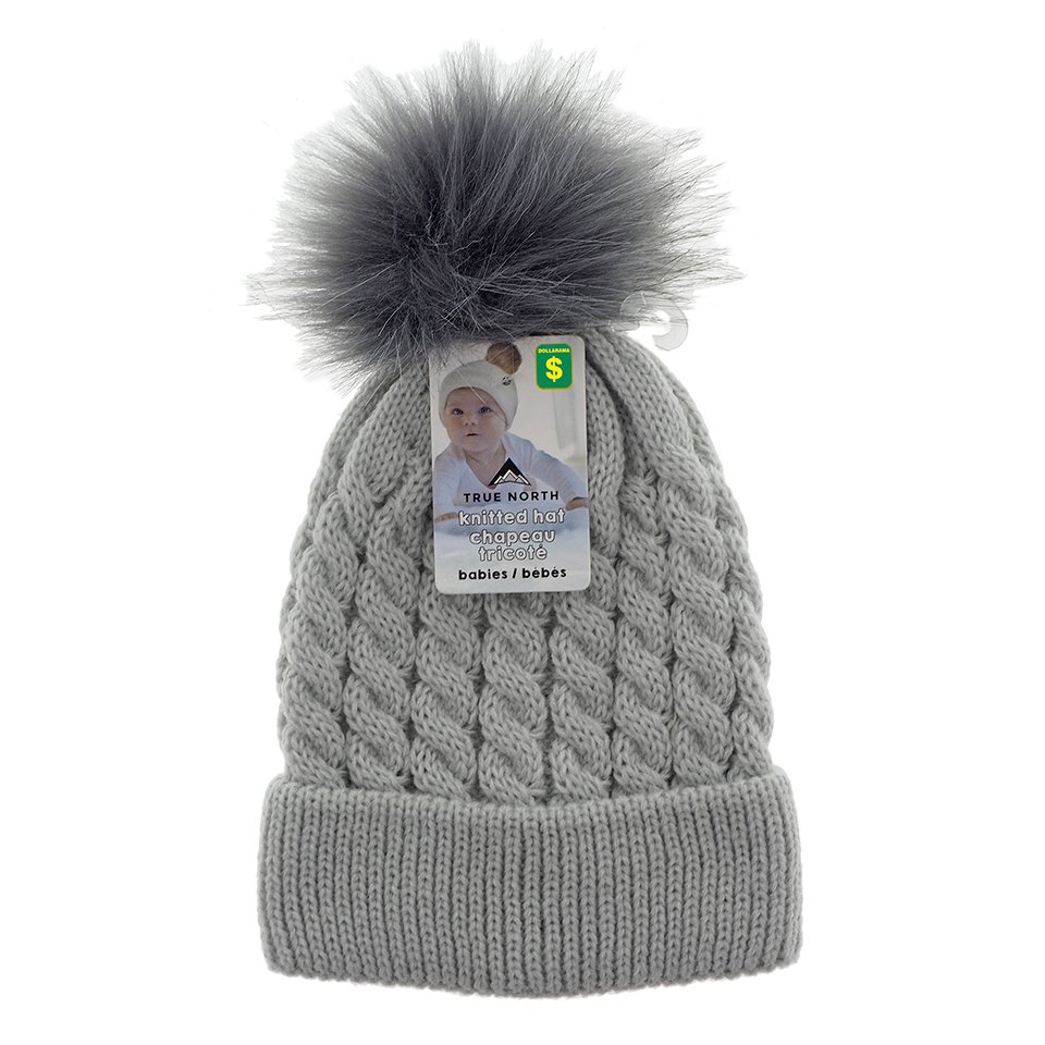 Babies knitted hat with Faux fur pom pom