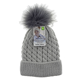 Babies knitted hat with Faux fur pom pom - 0