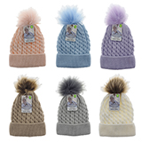 Babies knitted hat with Faux fur pom pom - 1