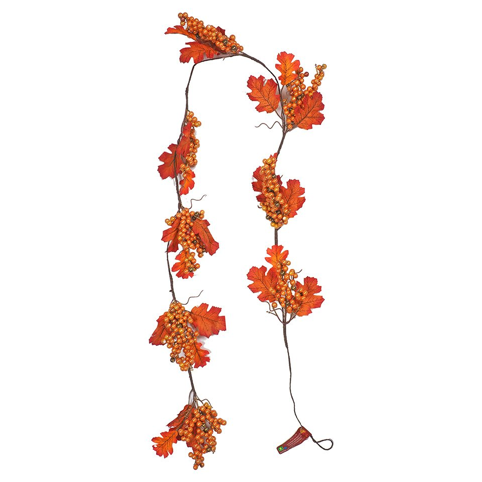 Thanksgiving Metallic Oak Leaves with Berries Garland