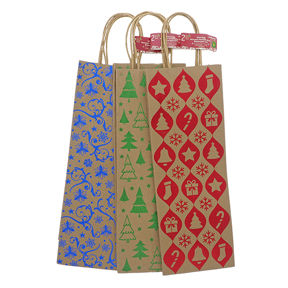 2Pk Wine Bag In Brown Kraft W/2 Sided Hotstamp