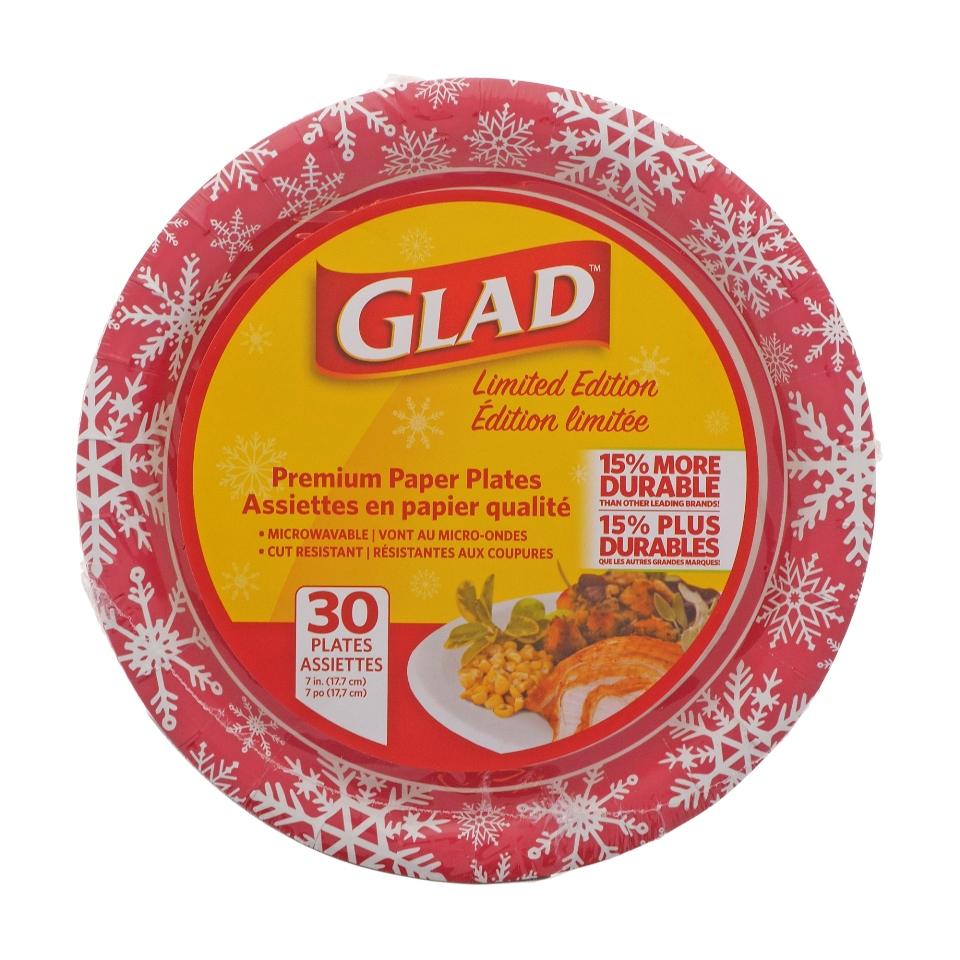 Paquet de 30 assiettes des fêtes de Glad