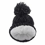 Tuque tricotée pour enfants avec pompon et doublure en sherpa - 1