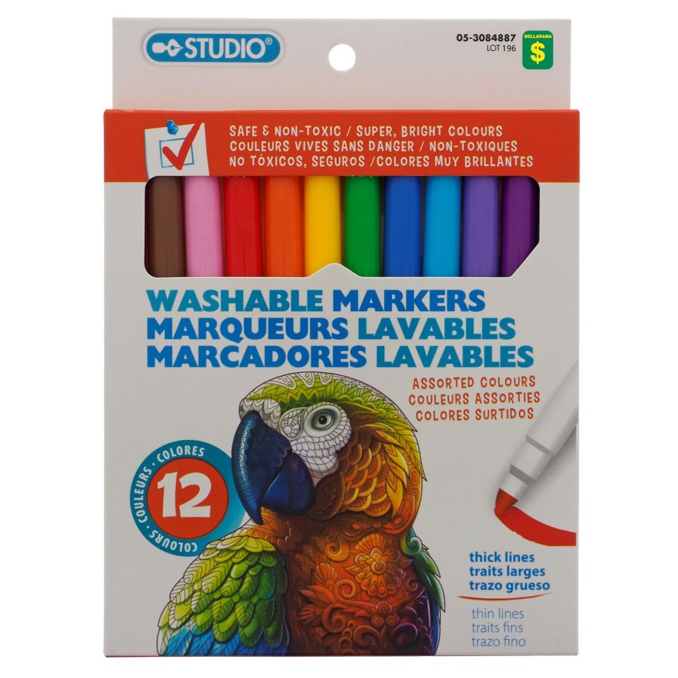 12PC Washable Markers
