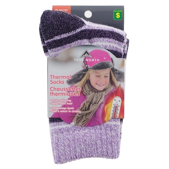 2 Pk Girls Thermal Crew Socks