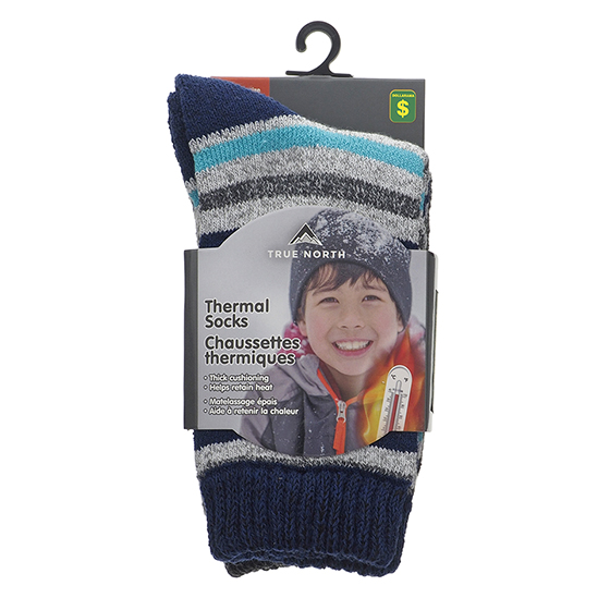 2 Pk Boys Thermal Crew socks