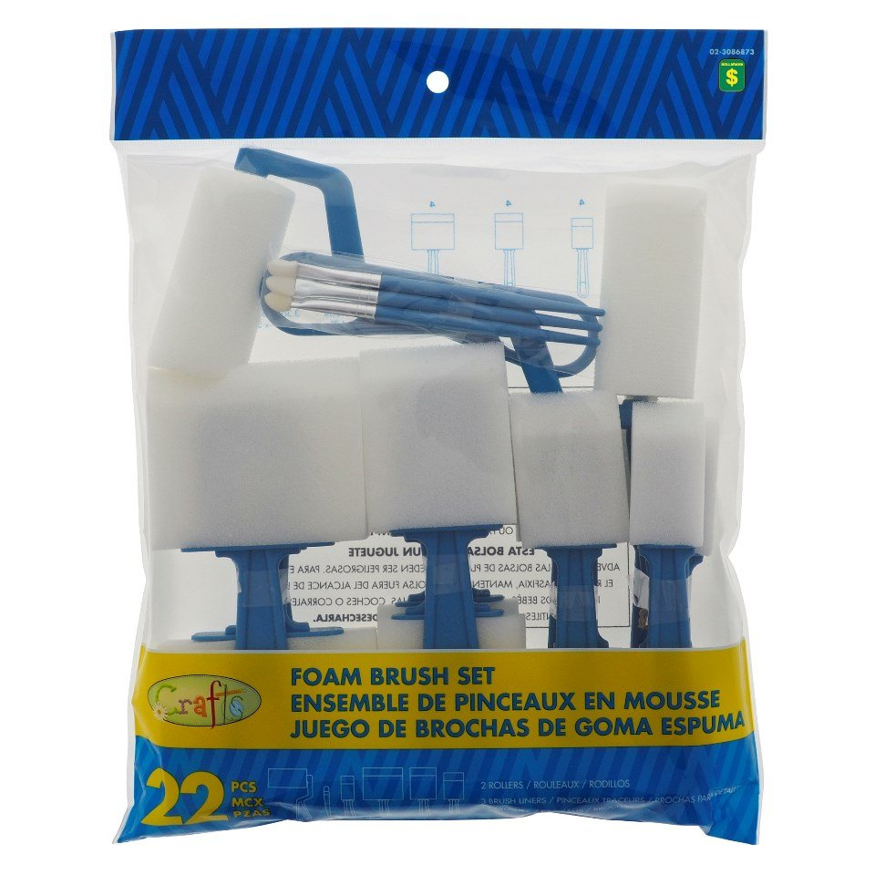 22PK Assorted foam brush set