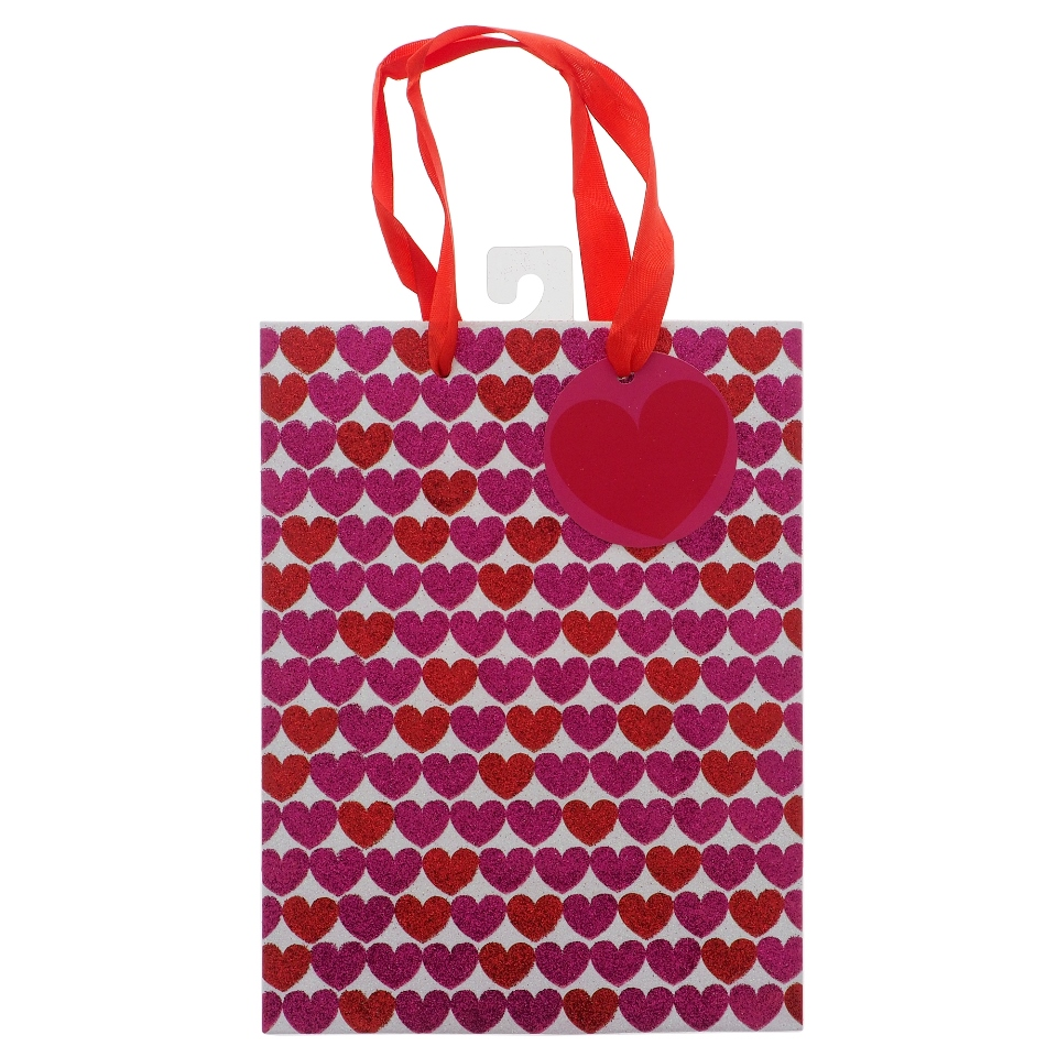 Valentines Medium Gift Bag with Glitter and Script
