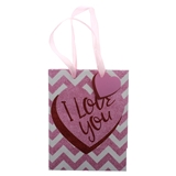 Valentines Medium Gift Bag with Glitter and Script - 1