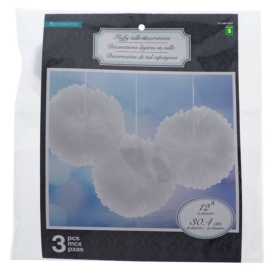 3PK Wedding Tulle Fluffy Decoration