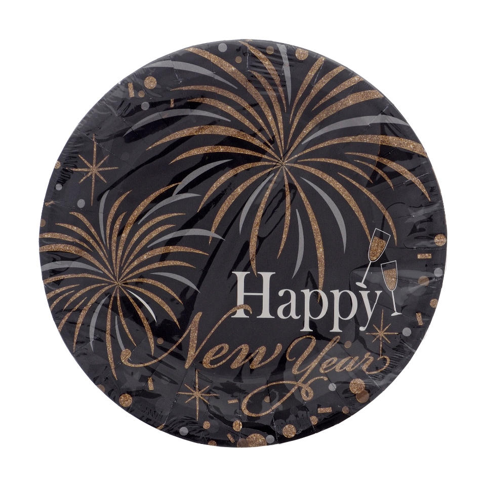 """10Ct 7"""" Printed """"Happy New Year"""" Round Paper Plates"""