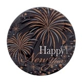"""10Ct 7"""" Printed """"Happy New Year"""" Round Paper Plates - 0"""