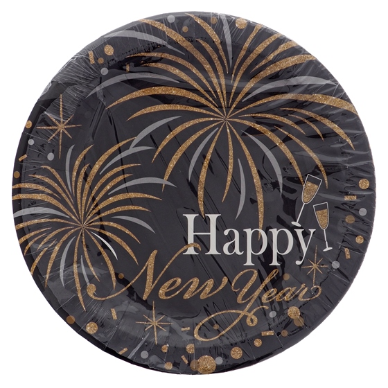Pack of 8 Happy New Year Paper plates