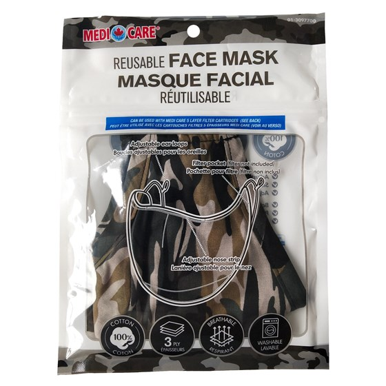 Large Adult Cotton Potective Mask - Camo