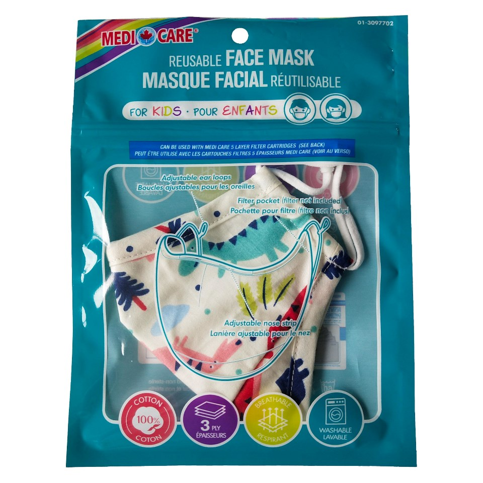 Kid's Cotton Protective Mask - Assorted designs - Case of 24