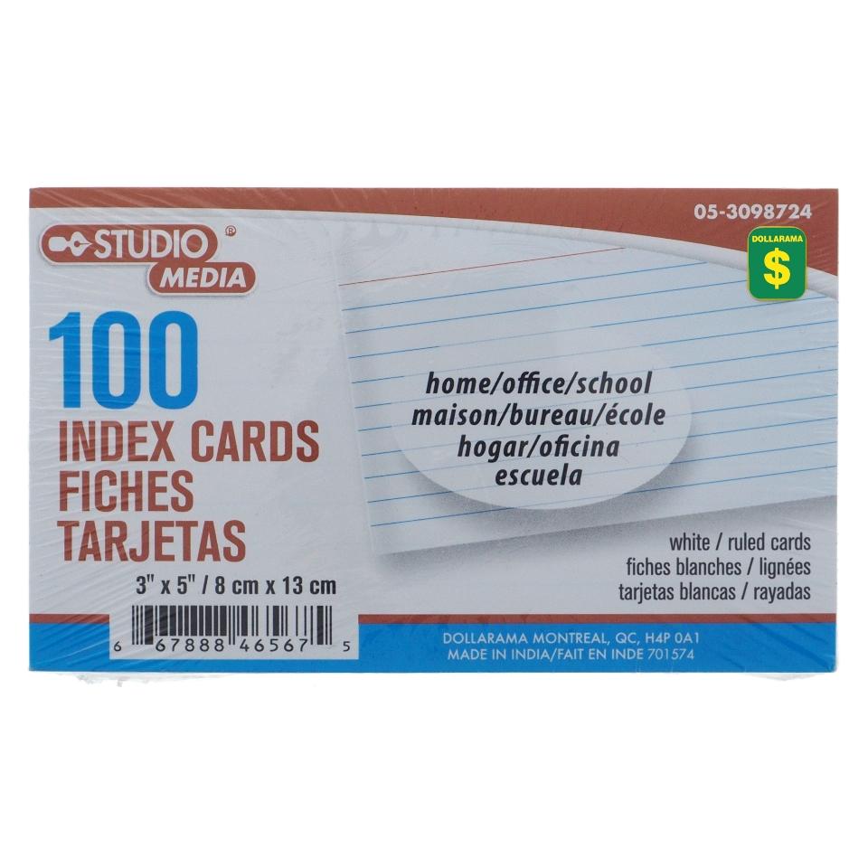 Ligned Index Cards