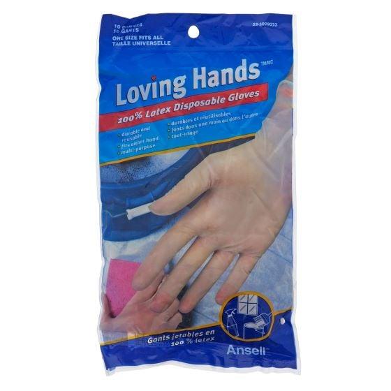 Paq. de 10 paires de gants jetables en latex