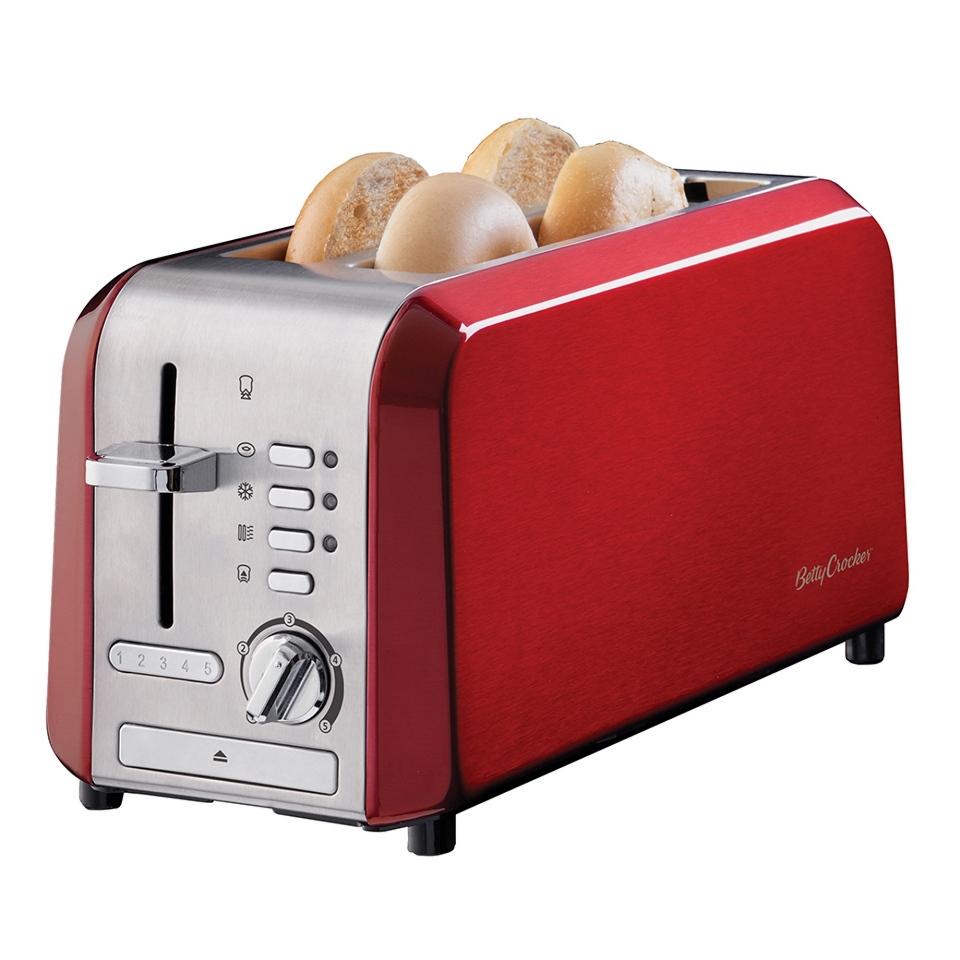 Betty Crocker Stainless Steel 4 Slice Toaster