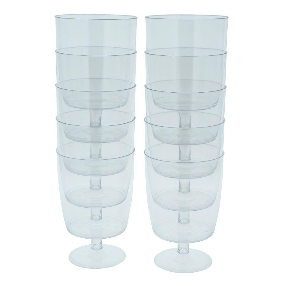 10Pk Platic Wine Glasses