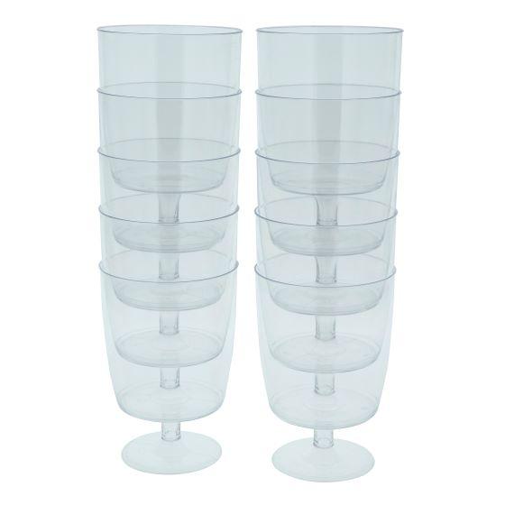 Paq. de 10 verres à vin en plastique