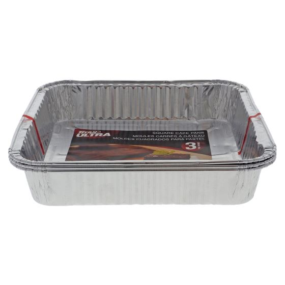 """3PK Aluminum Square Cake Pans - 8"""" x 8"""""""