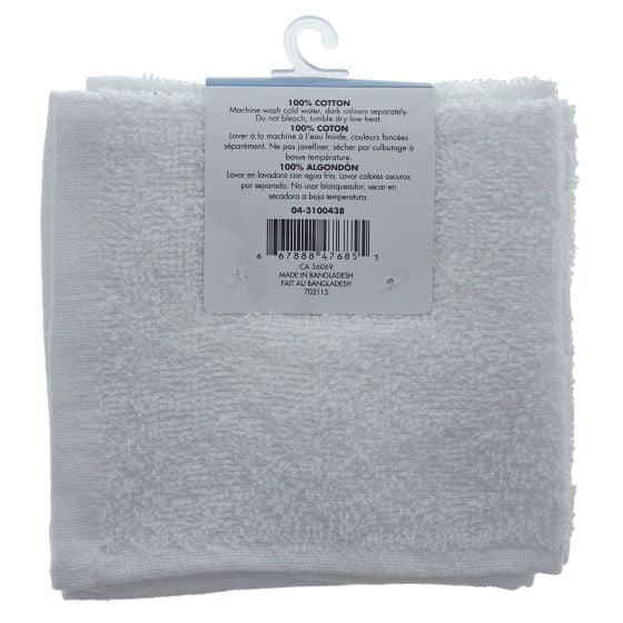 4PK White Cotton Facecloth